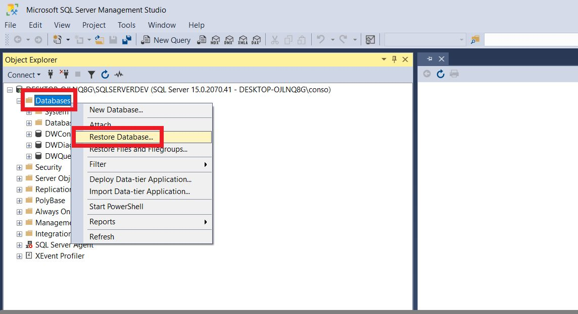 Restoring sample database using ssms Step 1